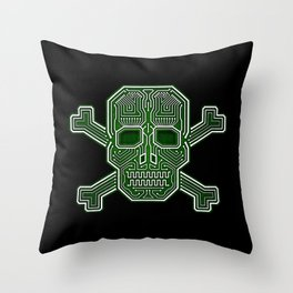 Hacker Skull Crossbones (isolated version) Throw Pillow