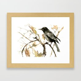 Crow in the Fall, Tribal Crow Raven art Framed Art Print