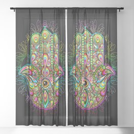 Hamsa Hand Amulet Psychedelic Sheer Curtain