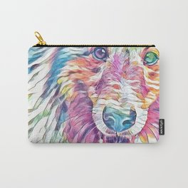 Collie in Rainbow Pastel Carry-All Pouch