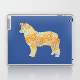 Border Collie Vintage Floral Pattern Orange Blue Yellow White Laptop & iPad Skin