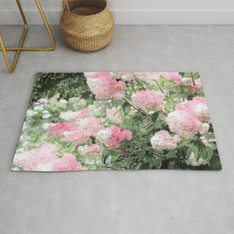 Strawberries and Cream Hyndrangers Watercolor Rug