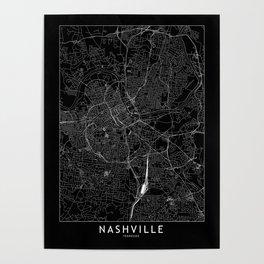 Nashville Black Map Poster
