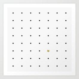 One Golden Cat - White Art Print