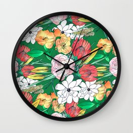 Colorful Hand Drawn Flowers Green Girly Design Wall Clock