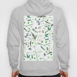 Cute country garden green pink floral foliage Hoody