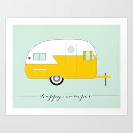 Yellow Happy Camper Art Print