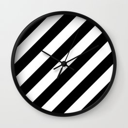 Diagonal Stripes Black & White Wall Clock