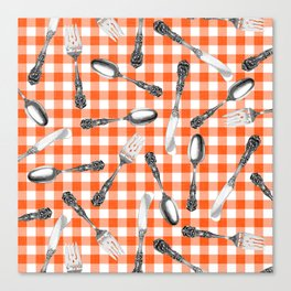 Utensils on Orange Picnic Blanket Canvas Print