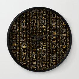 Egyptian hieroglyphs vintage gold on black Wall Clock