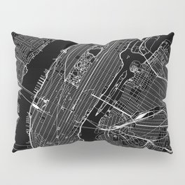 New York City Black Map Pillow Sham