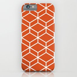 Geometric Honeycomb Lattice in White and Rich Orange iPhone Case