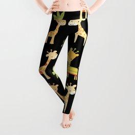 Giraffes - black Leggings
