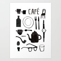 cafe Art Prints featuring Cafe by The Printed Peanut
