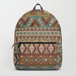 Geometric Art, Aztec Prints, Teal and Terracotta, Boho Wall Art Backpack