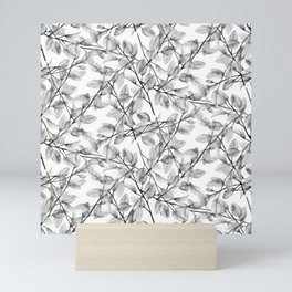 Delicate Leaves In Black And White Mini Art Print