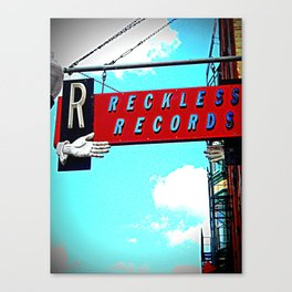 Reckless Records ~ chicago sign Canvas Print