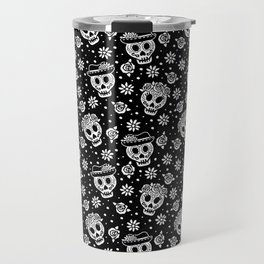 Black and White Day of the Dead Sugar Skulls Travel Mug
