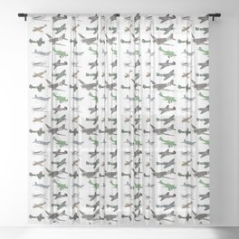 Multiple WW2 Airplanes Sheer Curtain