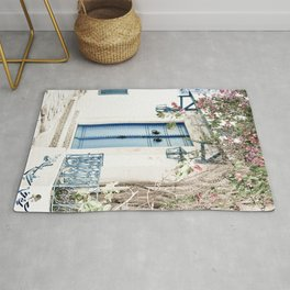 Blue Door With Pink Blossom Photo   Tunisia Travel Photography   Pastel Colored Street Scene Rug