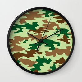 Camouflage Print Pattern - Greens & Browns Wall Clock