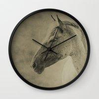 mustang Wall Clocks featuring AMERICAN MUSTANG by Christina Lynn Williams