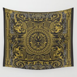 Medallion Lion Black Gold Wall Tapestry
