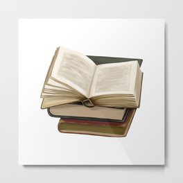 Hand Painting Old Books Metal Print