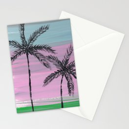 two palm trees sunset sky Stationery Cards