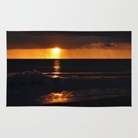 west coast Area & Throw Rugs featuring West Coast Sunset by Mary Curtis