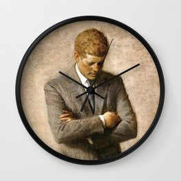 Official Portrait of President John F. Kennedy by Aaron Shikler Wall Clock