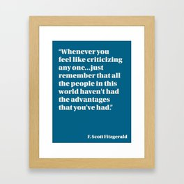 Fitzgerald on Privilege Framed Art Print