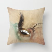 all seeing eye Throw Pillows featuring All Seeing Eye by Fran Walding