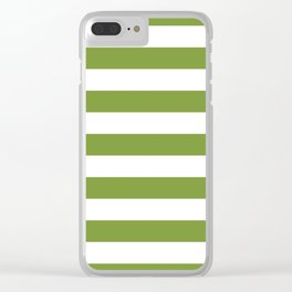 Green and White Stripes Clear iPhone Case