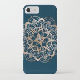 Lotus metal mandala on blue iPhone Case