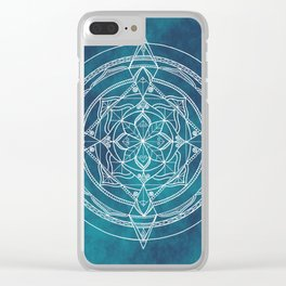 White Mandala - Dusky Blue/Turquoise Clear iPhone Case