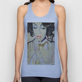 Colourful dripping ink portrait Unisex Tank Top