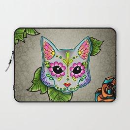 Grey Cat - Day of the Dead Sugar Skull Kitty Laptop Sleeve