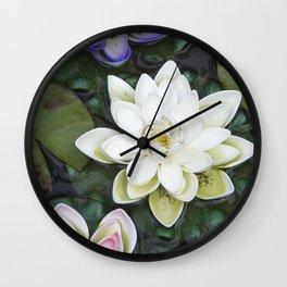 3 Lotus Flowers Wall Clock
