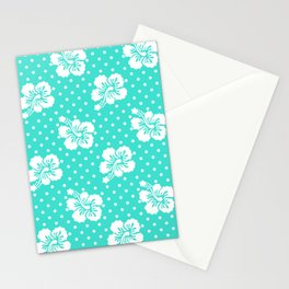 Turquoise and White Floral Pattern Polka Dots Stationery Cards