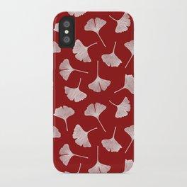 Ginkgo Biloba | Fiery Red Background iPhone Case