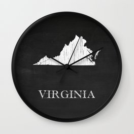 Virginia State Map Chalk Drawing Wall Clock