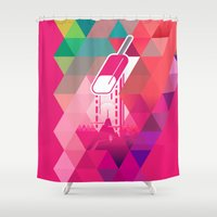 popsicle Shower Curtains featuring Raspberry Popsicle by Spires