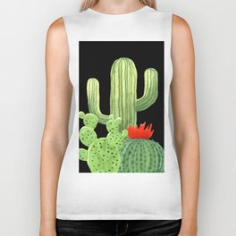 Perfect Cactus Bunch on Black Biker Tank