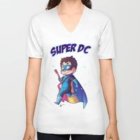 dc comics V-neck T-shirts featuring Super DC by Sunshunes