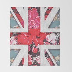 God save the Queen | Elegant girly red floral & lace Union Jack  Throw Blanket