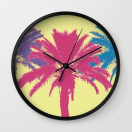 Tropical palm tree silhouettes Wall Clock
