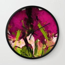 Rose Romantica Magenta Green Wall Clock