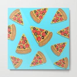 Pizza Party Blue Pattern Metal Print