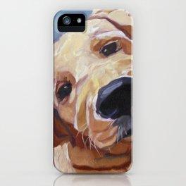 Golden Retriever Puppy Original Oil Painting iPhone Case